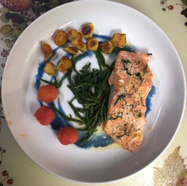 Marinated trout with samphire